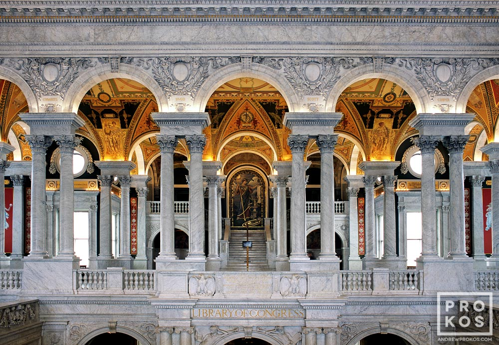 A fine art architectural photo of the balcony of the Great Hall in the Library of Congress, Washington D.C.