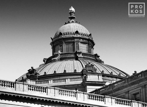 A black and white architectural fine art photo of the neoclassical dome of the Library of Congress in Washington DC