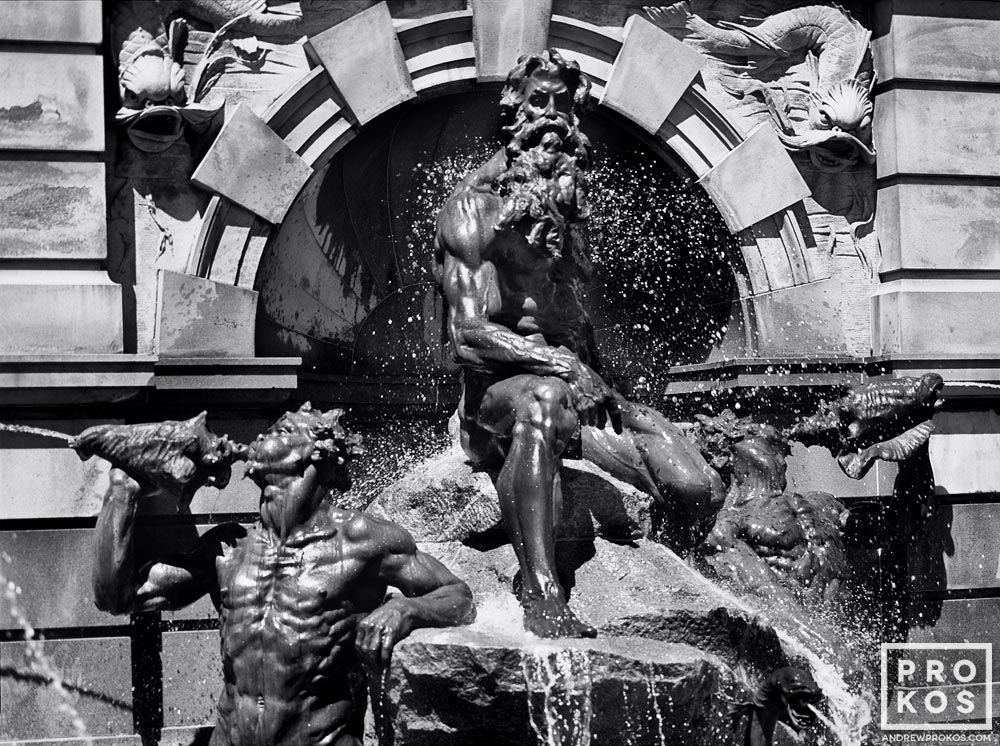 A black and white fine art photo of the Neptune Fountain at the Library of Congress, Washington D.C.