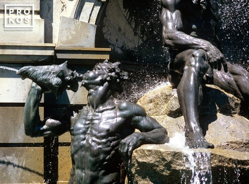 An architectural detail photo of the Neptune fountain at the Library of Congress, Washington D.C.