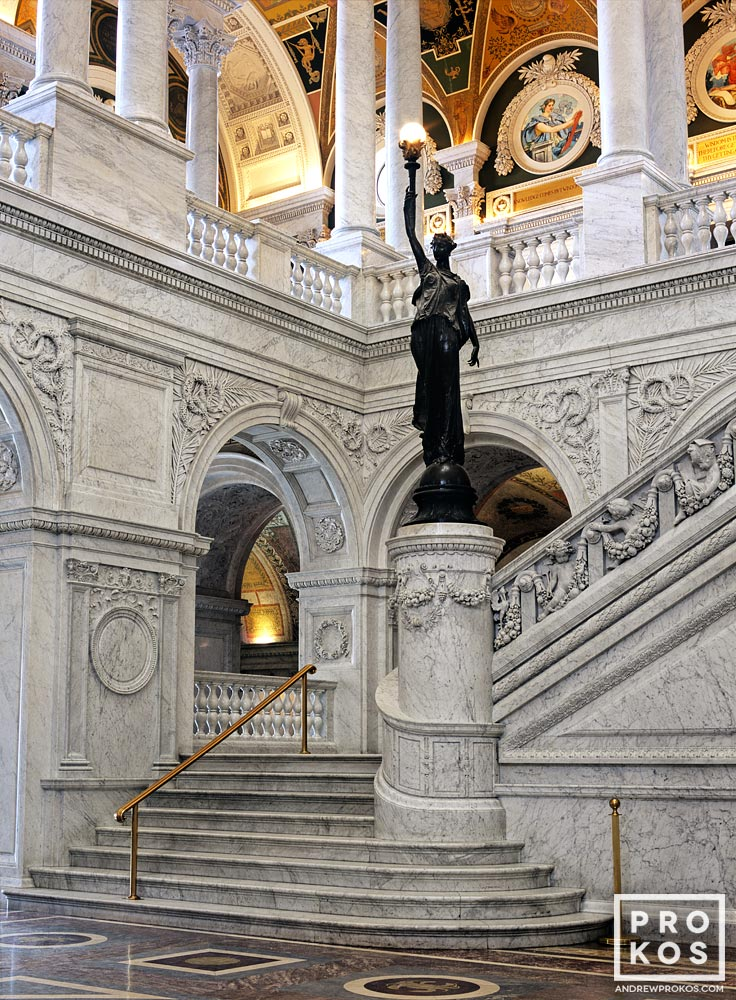 An architectural fine art photo of the interior of the Great Hall in the Thomas Jefferson Building, Library of Congress