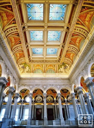A fine art architectural photo of the ornate stained glass coffered ceiling of the Thomas Jefferson Building, Library of Congress