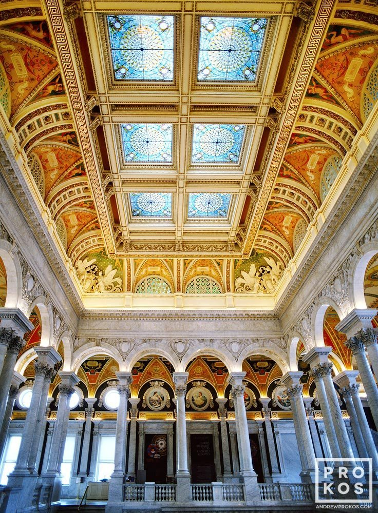 The ornate stained glass coffered ceiling of the Thomas Jefferson Building, Library of Congress