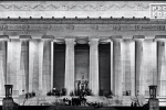A black and white fine art photo of the Lincoln Memorial at night, Washington DC