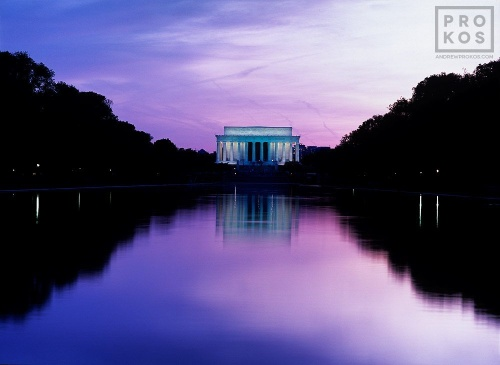 A high-definition fine art photo of the Lincoln Memorial reflected in the National Mall's reflecting pool at dusk, Washington DC
