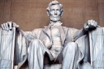 The colossal seated statue of Abraham Lincoln in the Lincoln Memorial, Washington DC