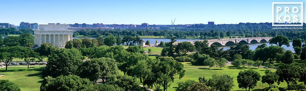 A panoramic view of West end of the National Mall, the Lincoln Memorial and Arlington Memorial Bridge, Washington DC.