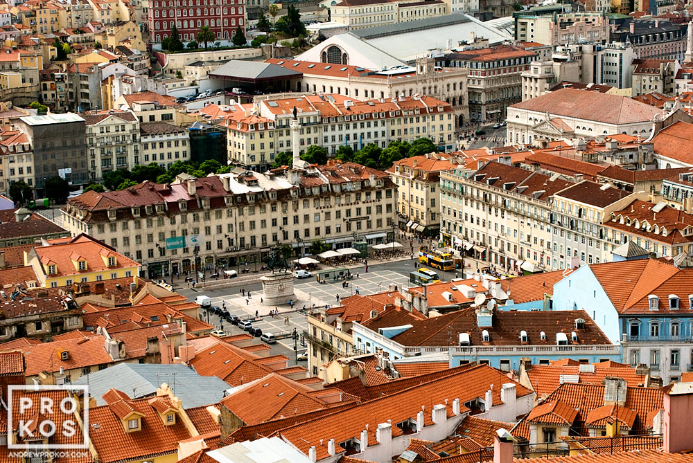 A view of the Praca da Figuiera from above, Lisbon, Portugal