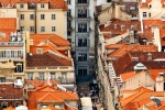 A view of the Santa Justa neighborhood of Lisbon from above, Portugal
