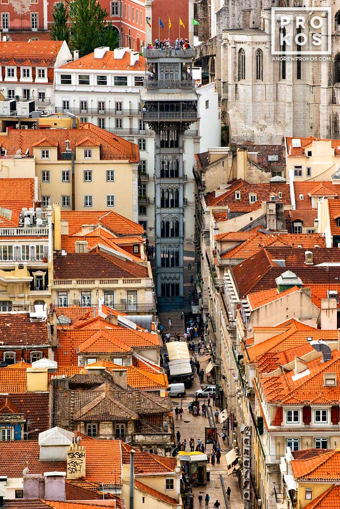 A view of the Santa Justa neighborhoodof Lisbon from above, Portugal