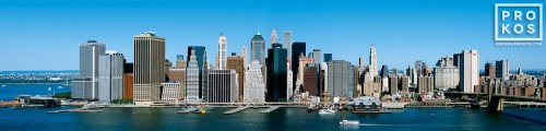 An aerial panoramic skyline of Lower Manhattan, New York City