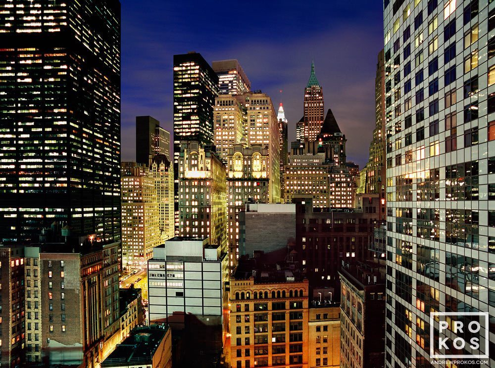 A view of the skyscrapers of Lower Manhattan at night, New York City