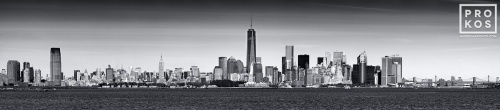 new york harbor panoramic skyline bw
