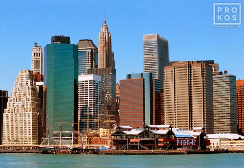 A view of Lower Manhattan and South Street Seaport, New York City