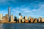 A high-definition panoramic skyline of Lower Manhattan, Hudson River, and the World Trade Center during the day as seen from New Jersey. Large-scale fine art prints of this photo are available up to 90 inches wide.