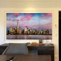 "The 80 inch limited edition print of ""Panoramic View of Lower Manhattan and the World Trade Center at Dusk"" with acrylic face mounting."