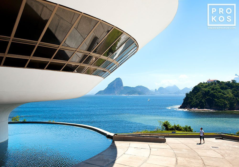 A view of the Museu de Arte Contemporanea by architect Oscar Niemeyer, in Niteroi. Fine art prints of this photo are available framed in various styles