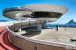 A fine art architectural photo of the Museu de Arte Contemporanea, in Niteroi. Uma visão do Museu de Arte Contemporânea, em Niterói.