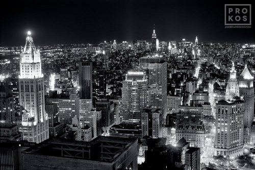 lower manhattan night black white