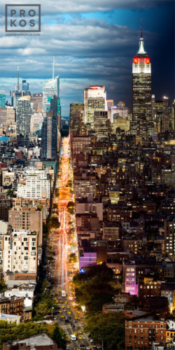 "An ultra high-definition vertical cityscape of Manhattan, NYC from Andrew's award-winning Night & Day series. Large-scale limited edition fine art prints of this photo are available in sizes up to 120"" in height."