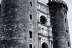 A black and white view of the Castel Nuovo (Maschio Angioino), Naples, Italy