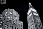 A black and white architectural photo of the MetLife Building at night, New York City