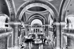 A black and white limited edition gallery photograph of the interior of the Metropolitan Museum, from Andrew's fine art series Inverted.