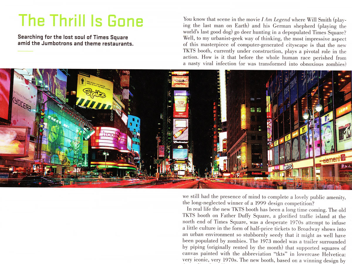 Photography of Times Square, NYC by photographer Andrew Prokos in Metropolis Magazine