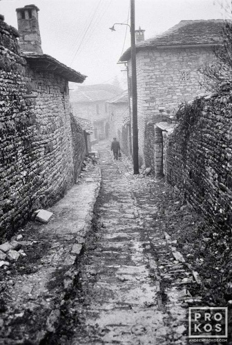 A view of the stone houses and paths of Metsovo village, Epirus in black and white