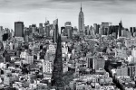 A large-format black and white cityscape photo of Manhattan as seen from Soho, New York City.