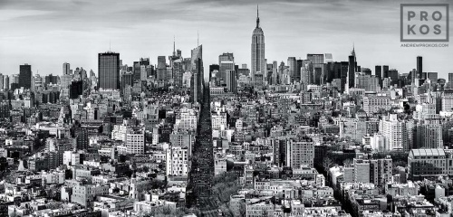 An ultra high-definition black and white cityscape photo of Manhattan as seen from Soho, New York City. Large-scale fine art prints of this photo are available up to 120 inches wide.