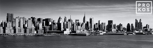 A panoramic fine art photo of Midtown and Lower Manhattan in black and white as seen from New Jersey
