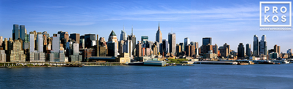 A daytime panorama of Midtown and Lower Manhattan as seen from New Jersey