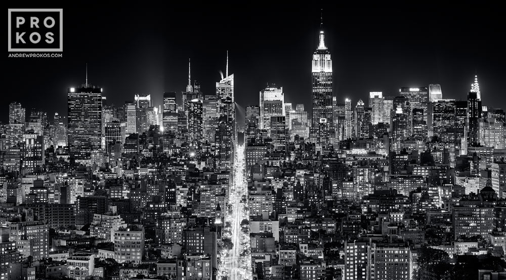 Panoramic cityscape of manhattan at night bw