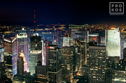 A view of the skyscrapers of Midtown Manhattan at night as seen from the Empire State Building, New York City