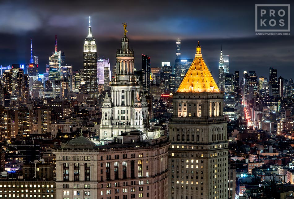 "A fine art photograph of the Municipal Building, 40 Centre Street, and the skyscrapers of Midtown Manhattan at night in the distance, New York City. Framed prints of this photo are available up to 72"" wide."