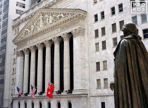 A high-definition architectural photo of the exterior of the New York Stock Exchange (NYSE)