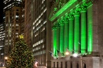 A fine art photo of the illuminated New York Stock Exchange (NYSE) at night during the Christmas holiday