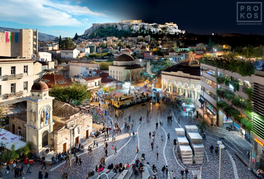 A cityscape photo of the Acropolisand Monastiraki neighborhood of Athens, Greece transitioning from day to night, from Andrew's award-winning Night & Day series. Large-scale fine art prints of this photo are available up to 90 inches wide.