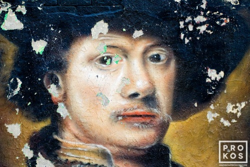 A New York City street mural of a portrait in the style of the painter Rembrandt