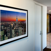 "View of the Empire State Building from Rockefeller Center at Dusk, 36""x48"" in the K2 Advisors corporate collection"