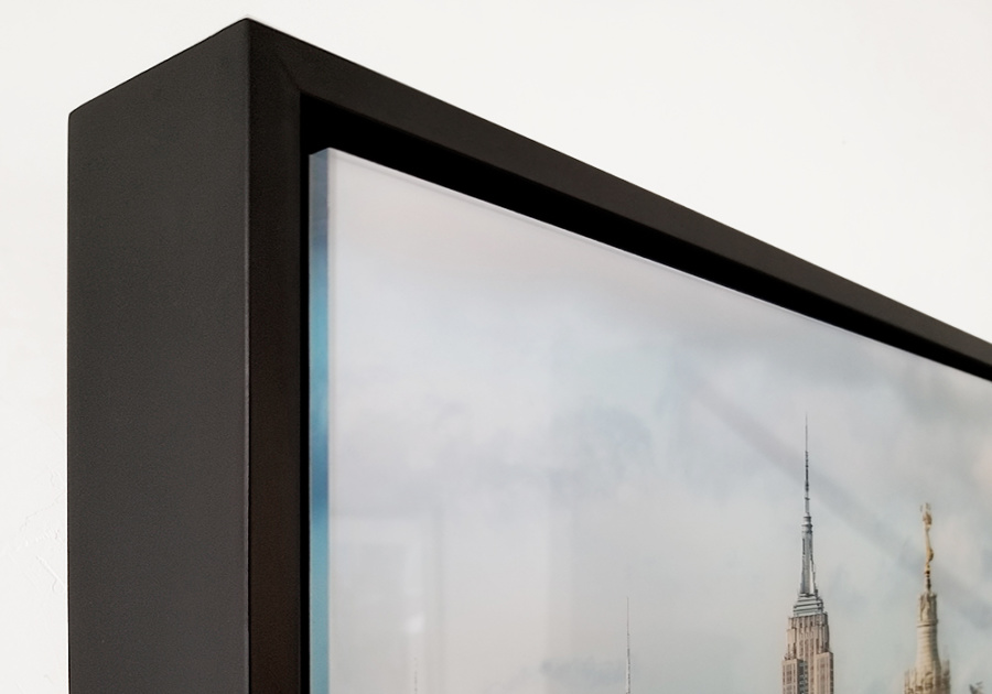 A detail of Municipal Building and Midtown Skyscrapers with acrylic float frame in black.