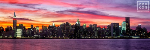 A large-format panorama of New York's skyline as seen from Brooklyn during a colorful early dusk