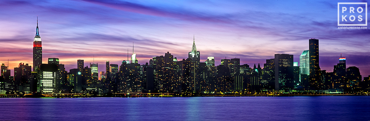 A panoramic skyline of New York as seen from Brooklyn at dusk, New York City.