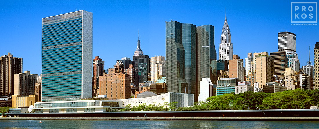"A high-definition panoramic photo of the Midtown Manhattan skyline and the United Nations in New York City. Large format fine art prints of this photo are available up to 120"" wide."