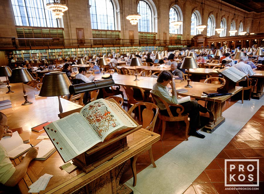 A view of the interior of the New York Public Library's Rose Main Reading Room