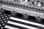 A fine art architectural photo of a detail from the New York Stock Exchange (NYSE) facade in black and white