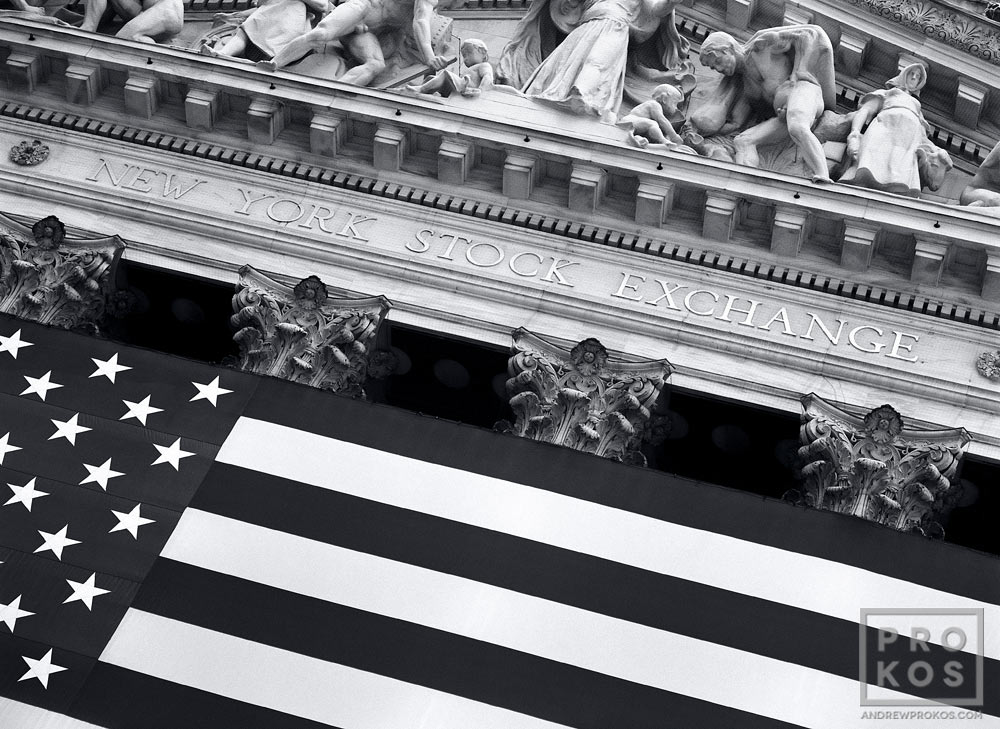 An architectural detail from the New York Stock Exchange (NYSE) in black and white
