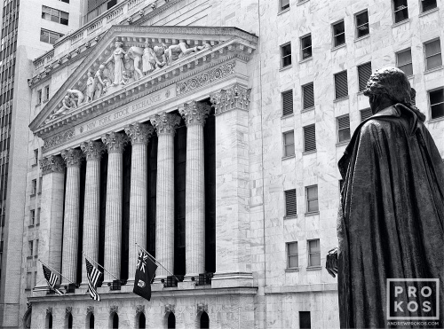 A fine art architectural photo of the New York Stock Exchange (NYSE) and the statue of George Washington at Federal Hall in black and white, New York City