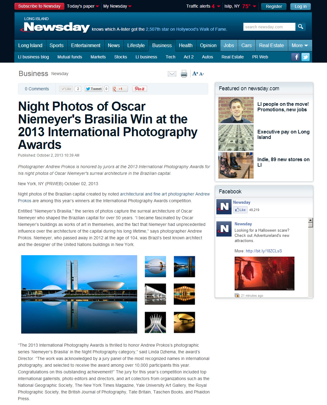 Newsday article about photographer Andrew Prokos